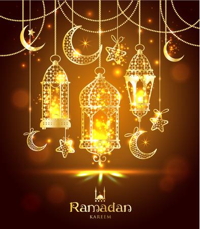 Greeting Card Ramadan Kareem design with lamps and moons.
