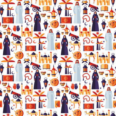 mujer con pistola: Ramadan Kareem iconos Conjunto de patr�n design.Seamless plano �rabe.