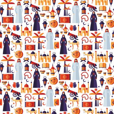 femme musulmane: Ramadan Kareem Icons Set de motif de design.Seamless plat arabique.