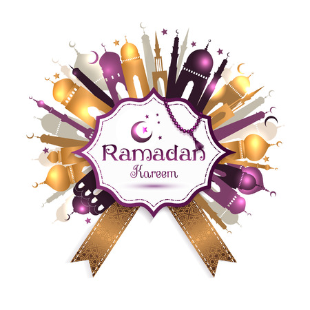 Ramadan Kareem frame with mosque. Vector abstract background. Illustration