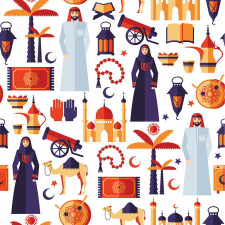 arabic man: Ramadan Kareem icons set of Arabian flat design.Seamless pattern.