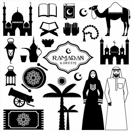 allah: Ramadan Kareem icons set of Arabian. Illustration