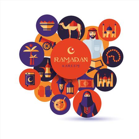 femme musulmane: Ramadan Kareem icônes ensemble d'Arabie. Design plat. Illustration
