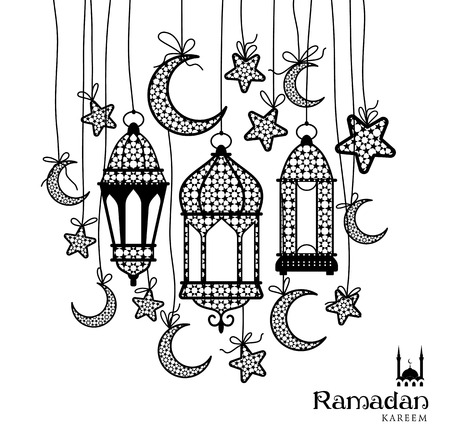 moons: Ramadan Kareem celebration greeting card decorated with black moons, lamps and stars on white background.