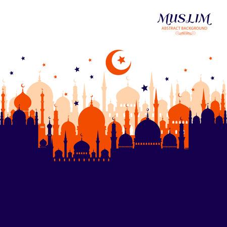 이슬람 추상 인사말 카드입니다. 흰색에 이슬람 벡터 일러스트 레이 션입니다. 스톡 콘텐츠 - 42209817