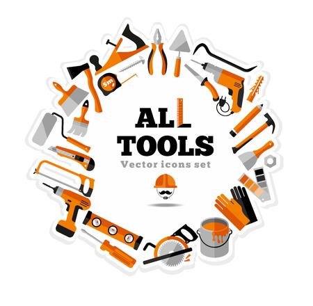 construction tools: Edificios herramientas iconos conjunto. Símbolos del diseño del piso. Vectores
