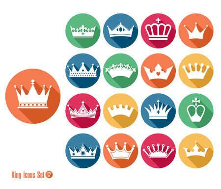 Crowns set of flat icons