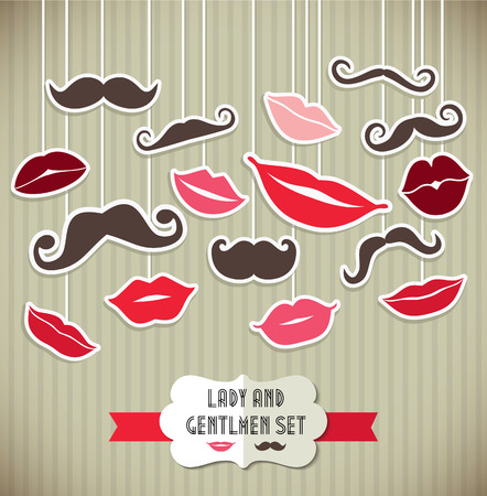 Stickers collection of moustaches and lips. Vector illustration of trend symbols. Stock Illustratie