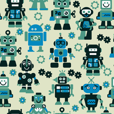 sf: Robots color seamless pattern.