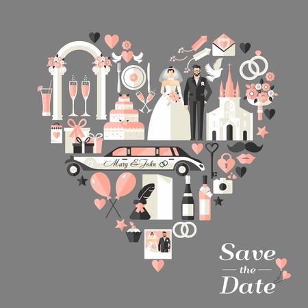 Carte d'invitation de mariage de coeur. Banque d'images - 43668498