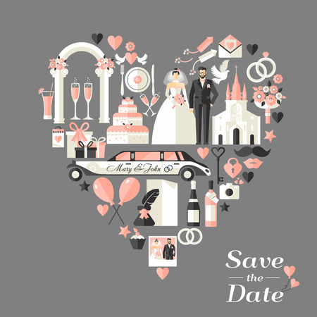 pastel boda: Tarjeta de invitación de la boda del corazón.