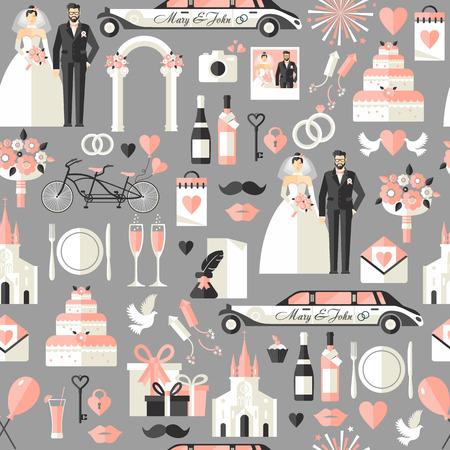 Wedding symbols set. Flat icons for your wedding design.Seamless pattern.