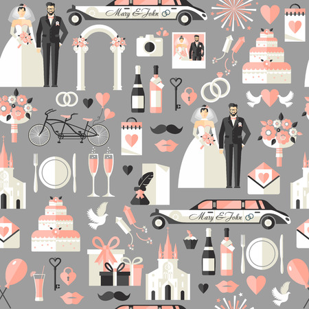 Wedding symbols set. Flat icons for your wedding design.Seamless pattern.