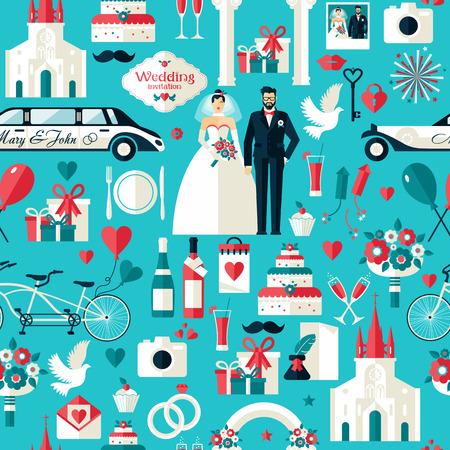 Esküvői szimbólumok beállítani. Lapos ikonok az esküvő design.Seamless mintát.