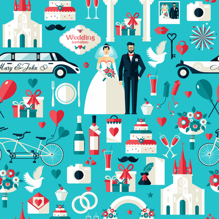 the church: Símbolos de la boda fijados. Iconos planos para su patrón design.Seamless boda.