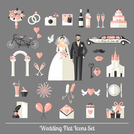 Esküvői szimbólumok beállítani. Lapos ikonok az esküvő design. Illusztráció