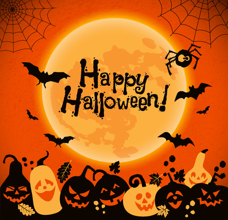 Halloween background of cheerful pumpkins with moon.