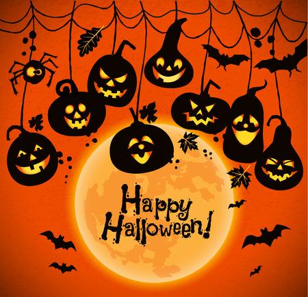 calabazas de halloween: Halloween background of cheerful pumpkins with moon.