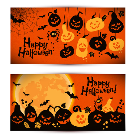 bats: Halloween background of cheerful pumpkins with moon. Banners set.