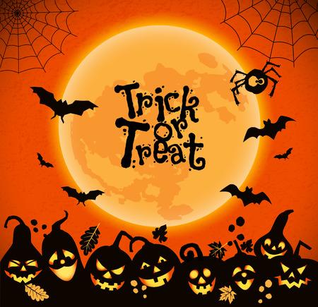 Halloween-achtergrond van vrolijke pompoenen met maan.