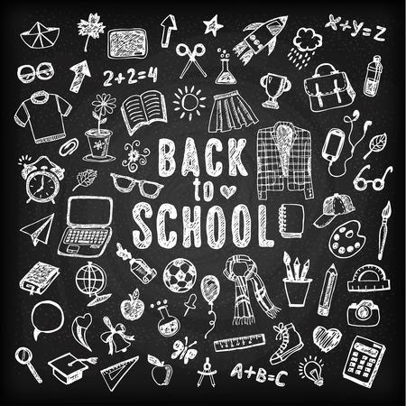 education icons: Back to school illustration. Sketch set. Illustration