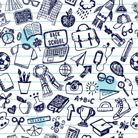 school test: Seamless pattern of school. Back to school illustration. Sketch set.