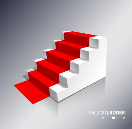 rojo: Escaleras aislado en fondo blanco con la alfombra roja. Pasos. ilustración vectorial