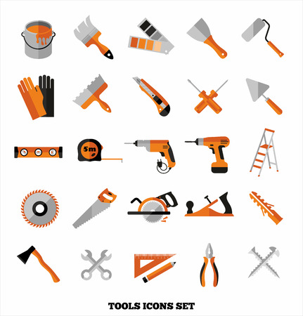 pintor: Edificios herramientas iconos conjunto. S�mbolos del dise�o del piso. Vectores