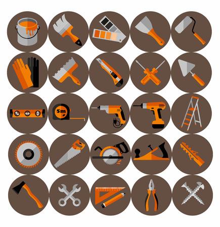 Gebouwgereedschap iconen set. Vlakke ontwerp symbolen. Stock Illustratie
