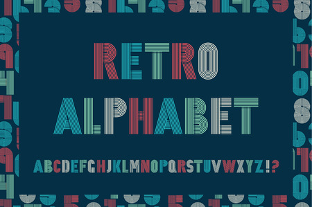 funky: Retro stripes funky fonts seamless pattern. Vector design. Illustration