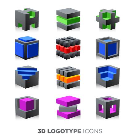 3d cube abstrait. Logotype réglé.