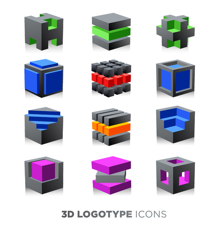 3d abstract cube. Logotype set.