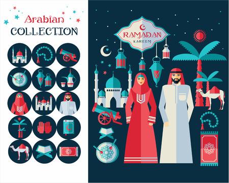 arabic man: Ramadan Kareem icons set of Arabian. Flat design.