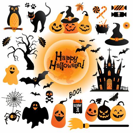 citrouille halloween: Ic�nes Halloween fix�s. �l�ments Vector Design pour des vacances.