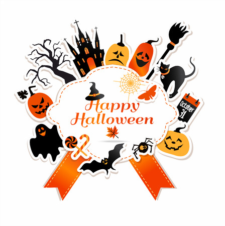 ghost town: Halloween frame with celebration symbols.