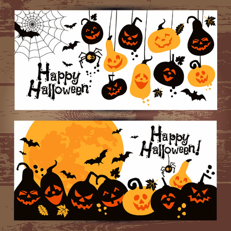 Halloween background banners of cheerful pumpkins with moon. Vettoriali