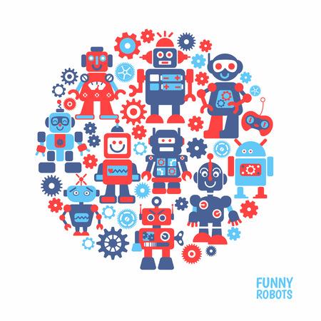 robot: Robots divertidos fijados. 10 robots alegres para el dise�o