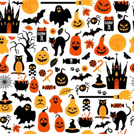 calabazas de halloween: De Halloween sin fisuras patrón Vectores