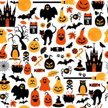 bat animal: Halloween seamless pattern