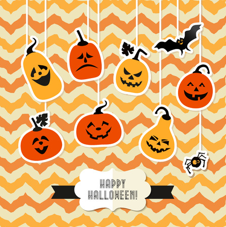 Halloween background of cheerful pumpkins. 版權商用圖片 - 44333197