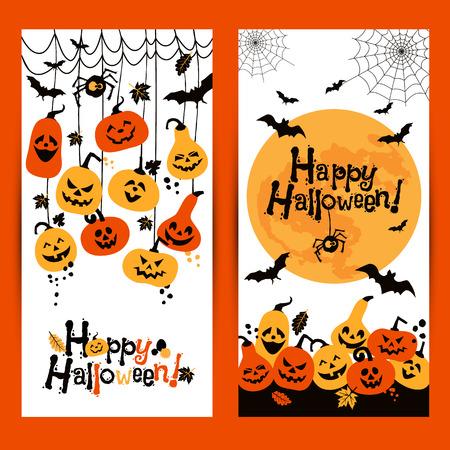 calabazas de halloween: Halloween de fondo banderas de calabazas alegres con la luna. Vectores