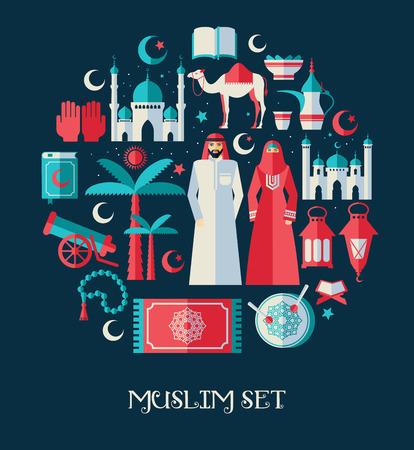 camello: conjunto de iconos musulmanes conjunto de Arabia. Diseño plano.