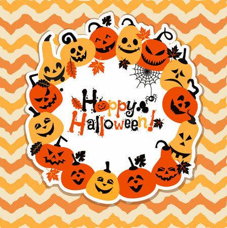 Halloween background of cheerful pumpkins.