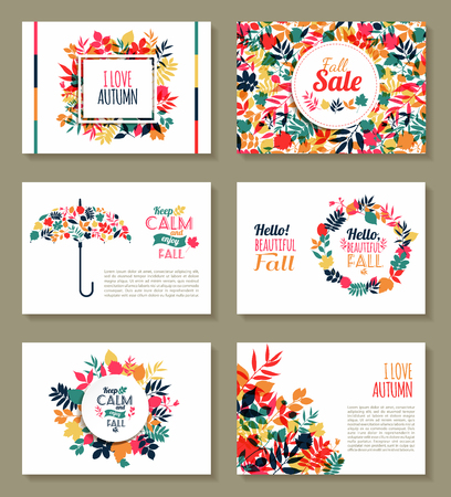 fall in love: Fall set. Medal and leaves composition.Banners of autumn season. Illustration