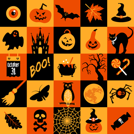 Happy halloween banner. Color collage with celebration symbols.