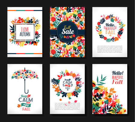 festive season: Fall set. Medal and leaves composition.Banners of autumn season. Illustration