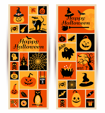 ghost town: Happy halloween banner. Color collage with celebration symbols.
