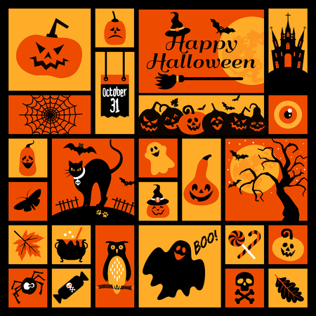 ghost town: Halloween icons set. Vector Design elements for a holiday.