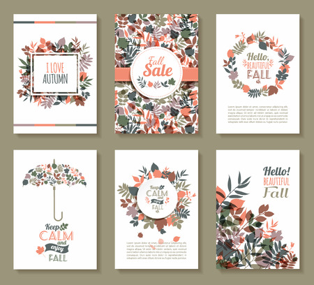 Fall set. Medal and leaves composition.Banners of autumn season. Illustration