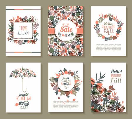 florale: Fall gesetzt. Medaille und lässt composition.Banners der Herbstsaison. Illustration